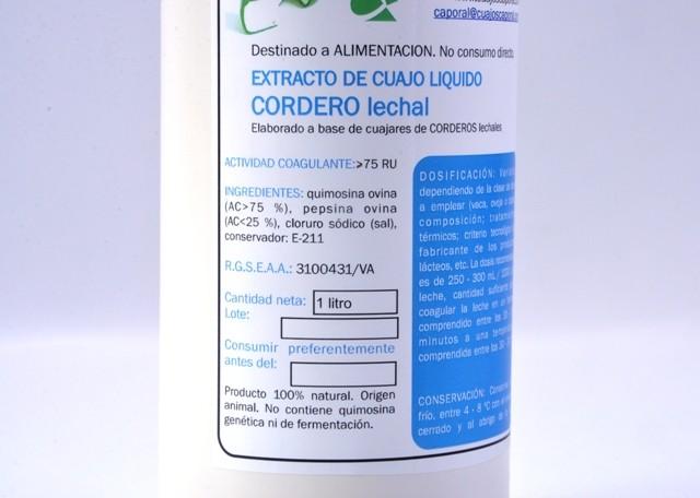 1 L Extracto de cuajo líquido Cordero lechal